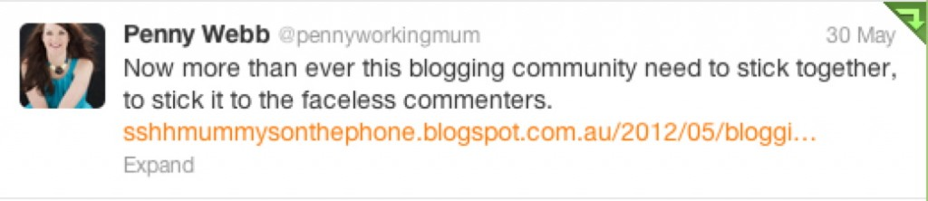Penny's Tweet Mummy Bloggers Being Bullied