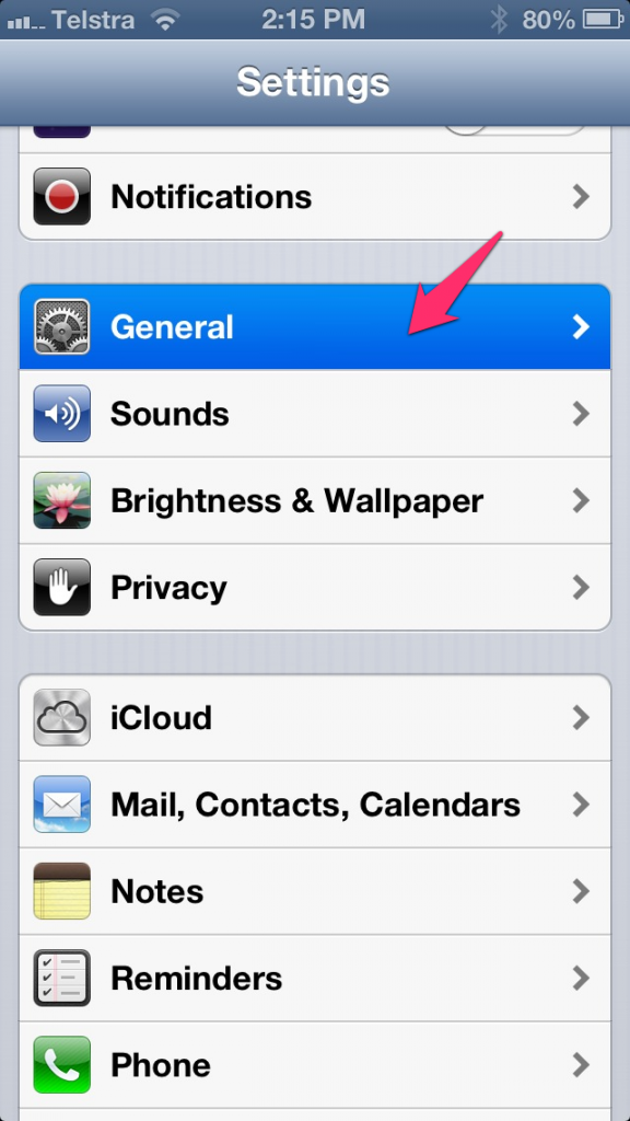 General Settings on iDevice