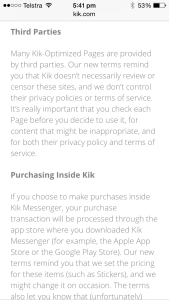 Kiks new terms and conditions