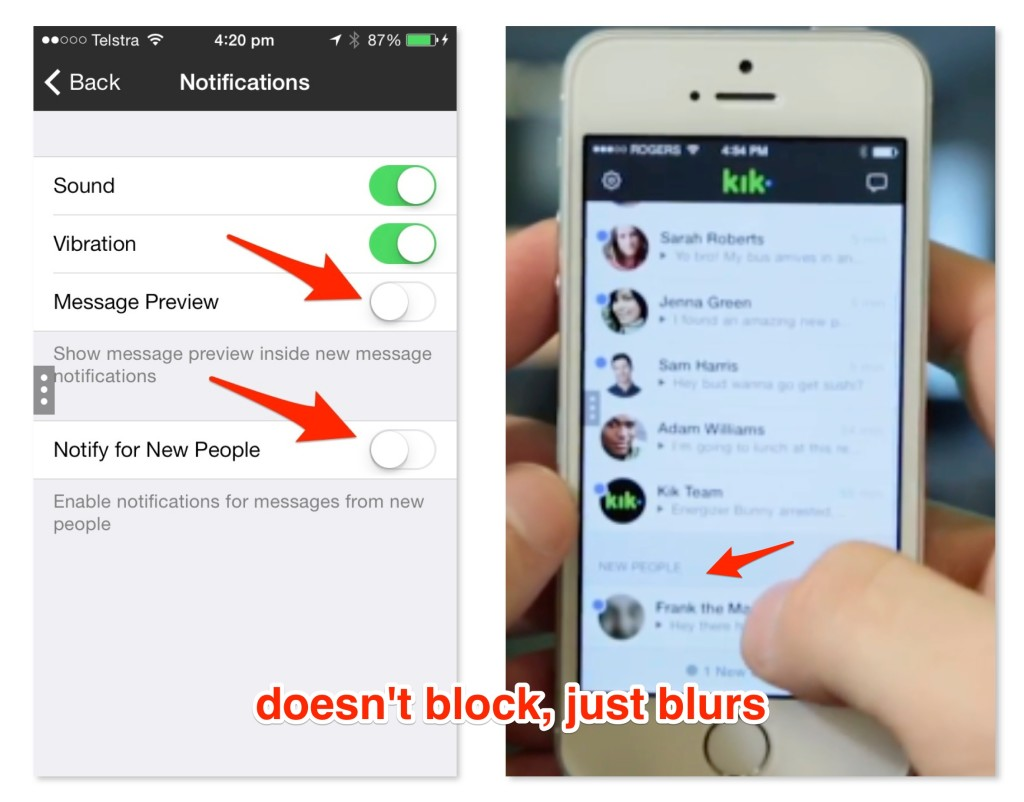 Kik Messenger Privacy Settings