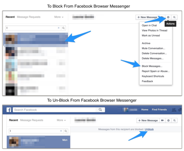 Blocking and Unblocking in Facebook Messenger on P.C