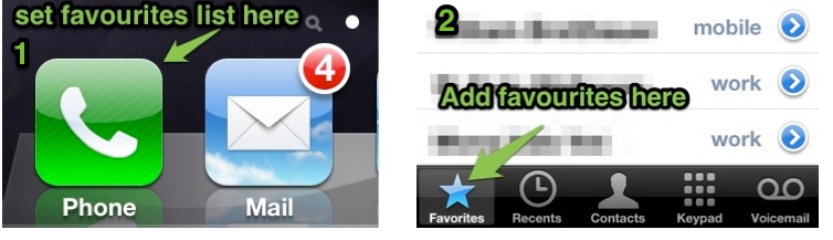 Add numbers to favourites list on iPhone