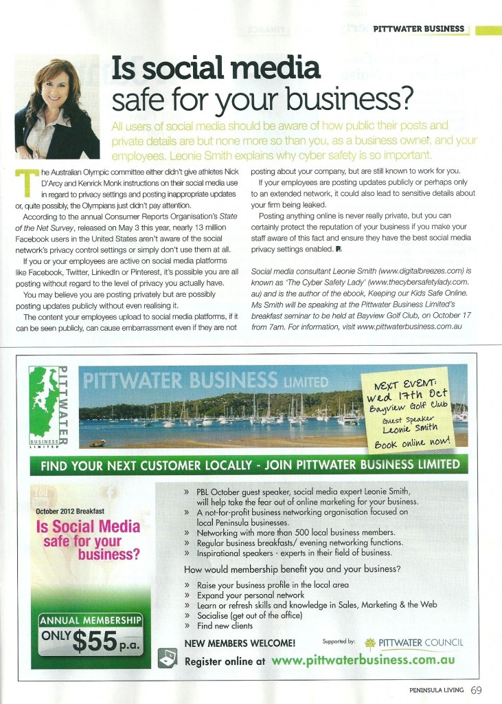 Peninsular Living Magazine Article On Social Media Safety