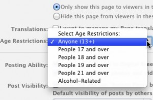 Restrictions on Facebook Pages