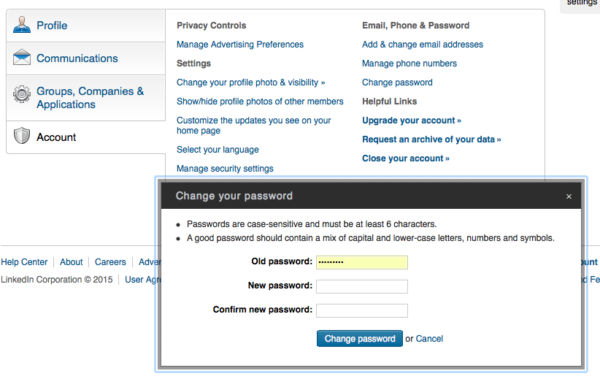 change password Linkedin