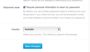 Password protections from Twitter