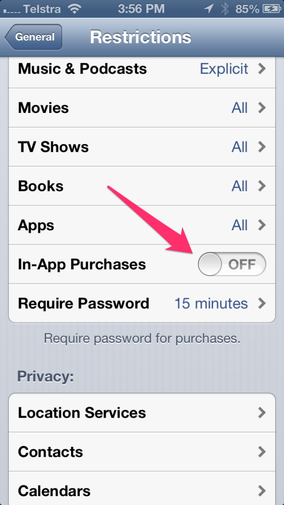 Turn In-App Purchases To OFF
