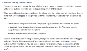 Privacy Options For Shared Albums