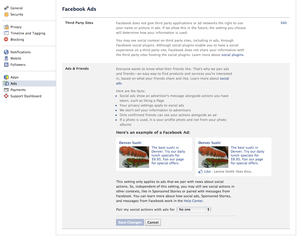 Facebooks Ads Privacy settings