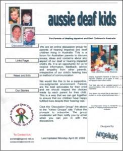 """The First Aussie Deaf Kids Website Designed by """"AngelKing"""" Leonie Smith"""