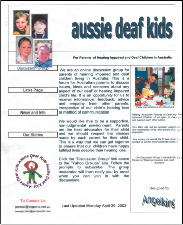 "The First Aussie Deaf Kids Website Designed by ""AngelKing"" Leonie Smith"
