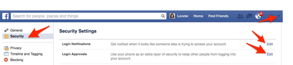 Login approvals on Facebook