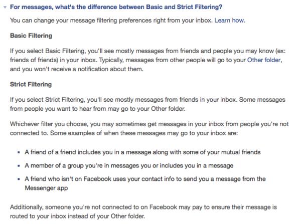 Basic and Strict Filtering in Facebook Messenger