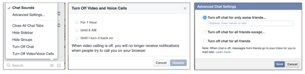 turning off voice and video Facebook messenger chat