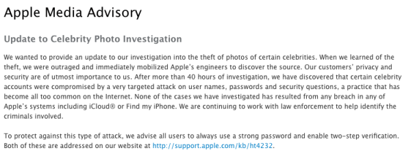 Update to Celebrity Photo Investigation