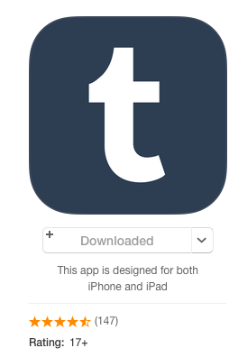 Tumblr is rated 17+ on iTunes