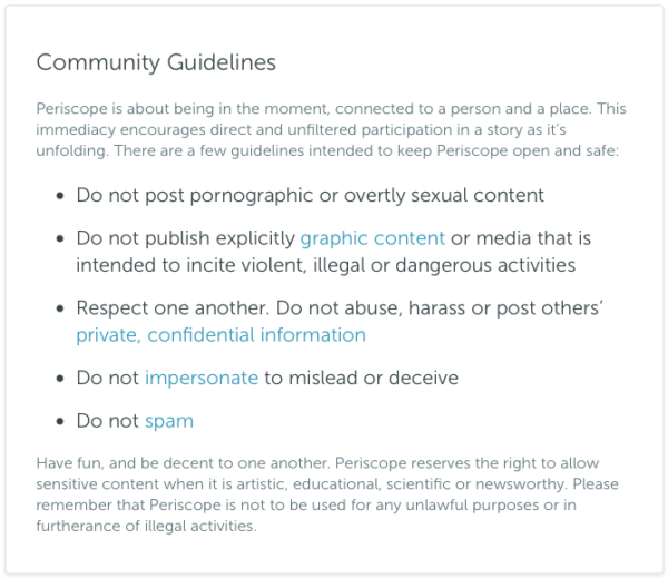 Periscope community guidelines