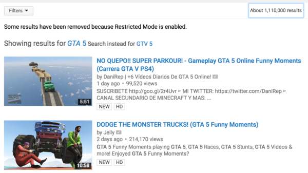 YouTube's Restricted Mode doesn't block Grand Theft Auto Videos