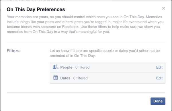 Filter Settings for Facebook's Memories Feature
