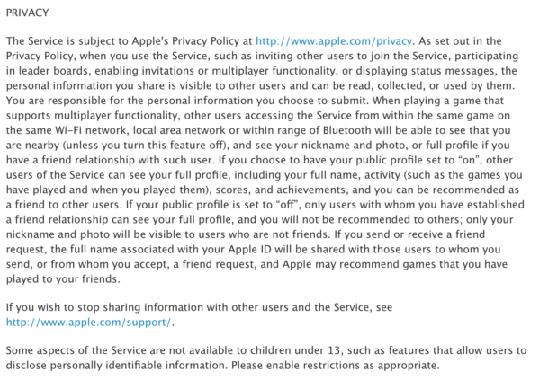 Apple Game Centre Terms Of Service