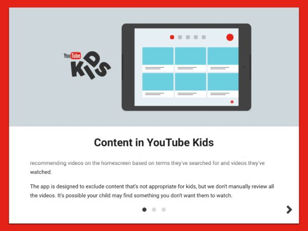 YouTube Kids Content Disclaimer