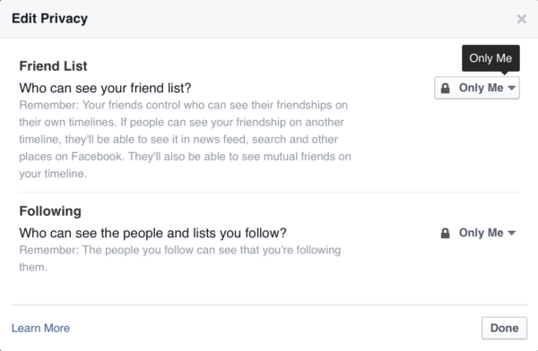 Set Your Facebook Friends List To Private